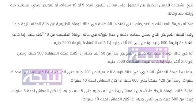 قيمة التعويض أو المعاش فى شهادة أمان المصريين