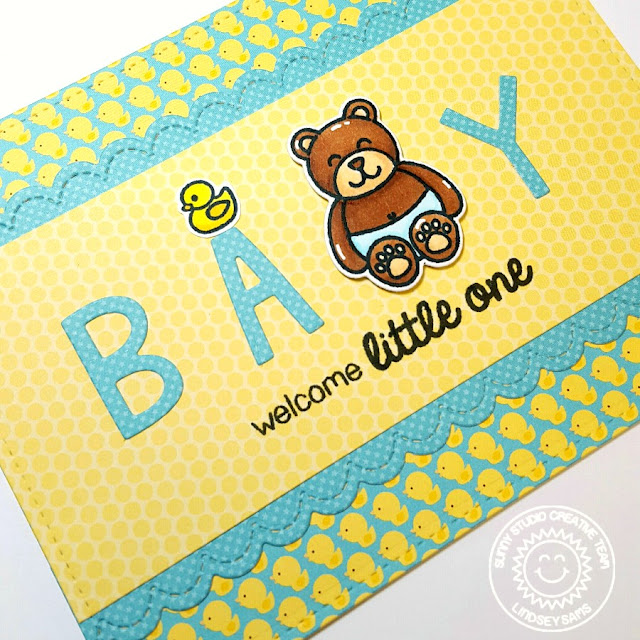 Sunny Studio: Baby Bear Welcome Little One Card by Lindsey Sams.