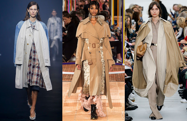shots of three models in unusual trench coats