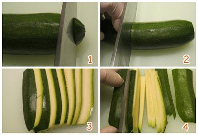 Taglio delle zucchine.