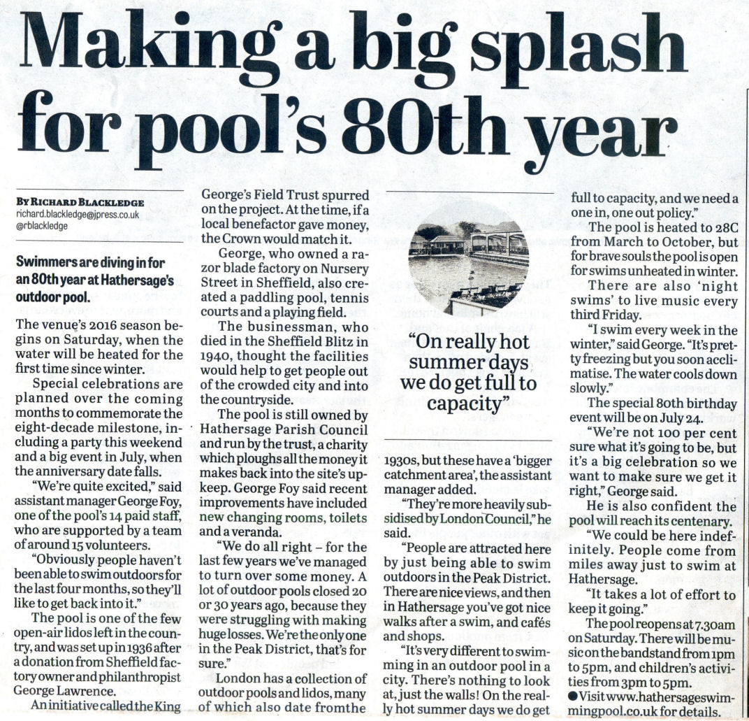 View from a hill hathersage open air swimming pool opened - Hathersage open air swimming pool ...