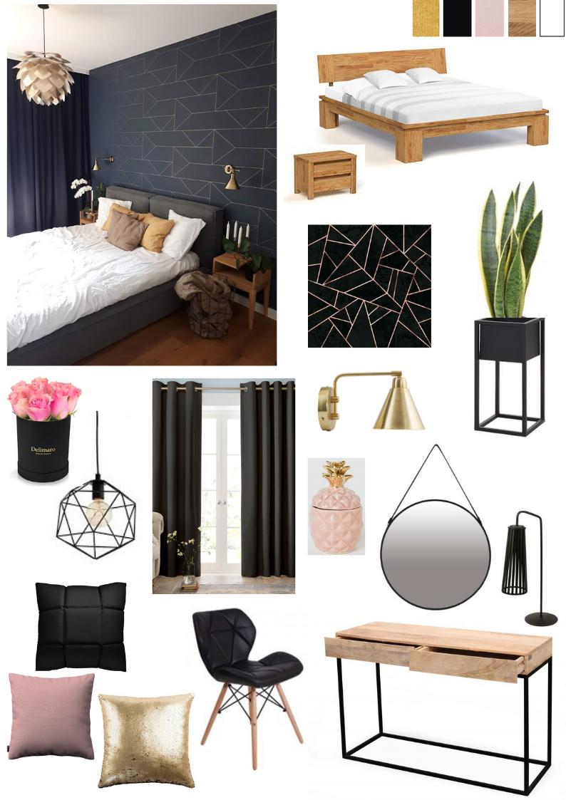 pomysł na sypialnię czarno złotą