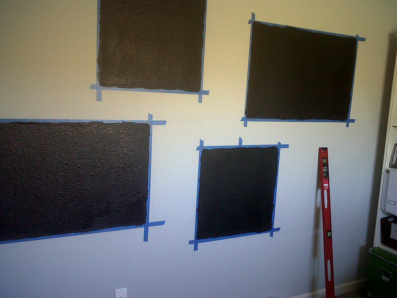 So I Measured Out Two 2 X Squares And 3 Rectangles Painted Them With Chalkboard Paint