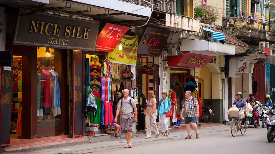 Shopping streets in Hanoi Vietnam - shopping centre at Hanoi old quarter