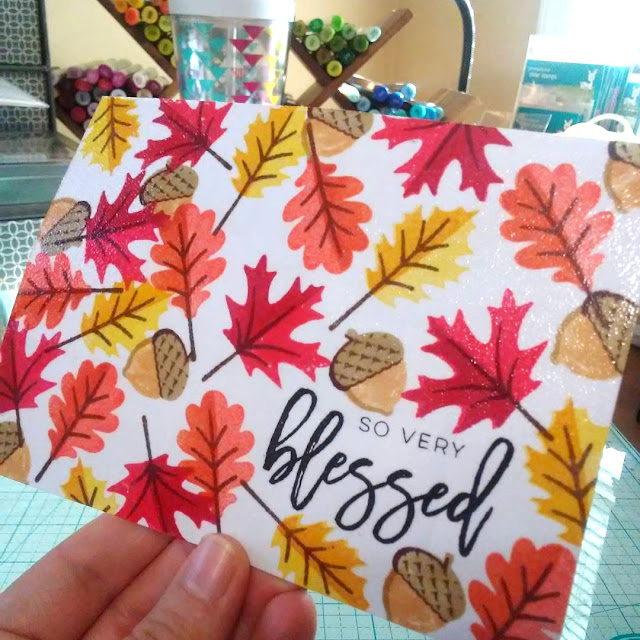 Sunny Studio Stamps: Autumn Splendor Fall Leaves Postcard by Lynnea Hollendonner