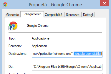 Finestra Proprietà Google Chrome