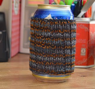 hand knit can cozy available for sale at  https://www.etsy.com/shop/JeannieGrayKnits