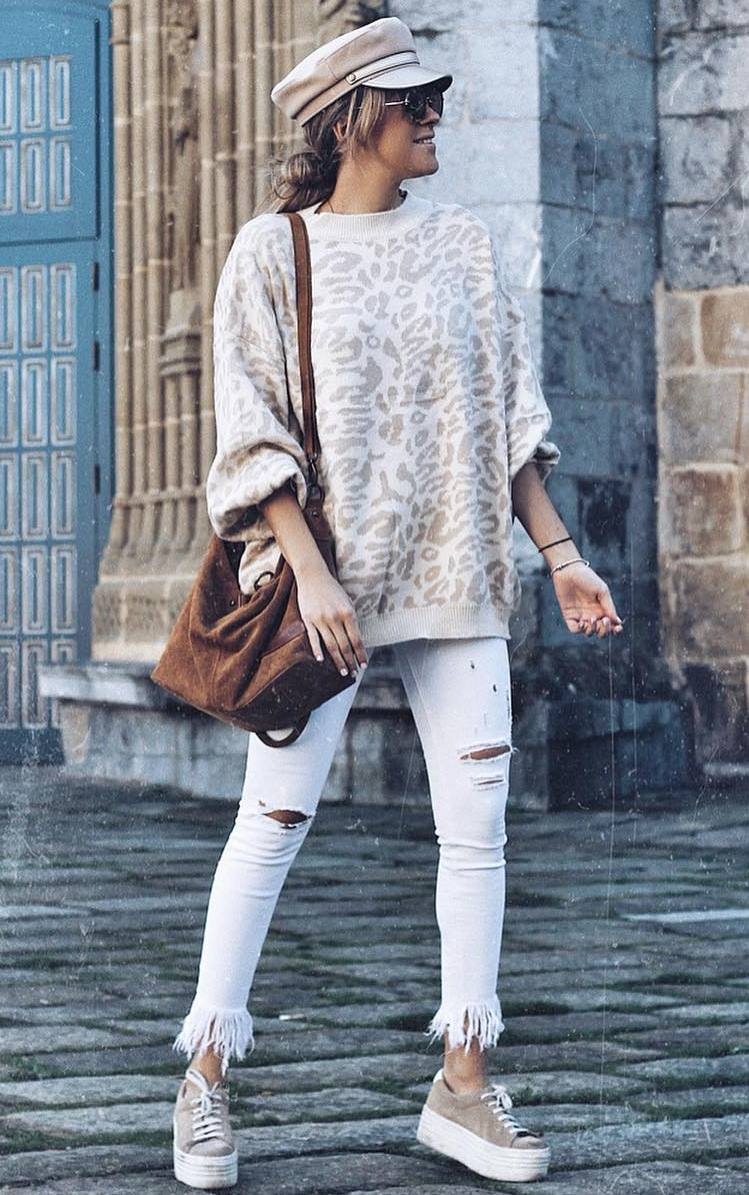 casual style obsession / sweater + bag + hat + white ripped jeans + platform sneakers