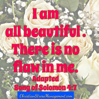 I am all beautiful. There is no flaw in me. (Adapted Song of Solomon 4:7)