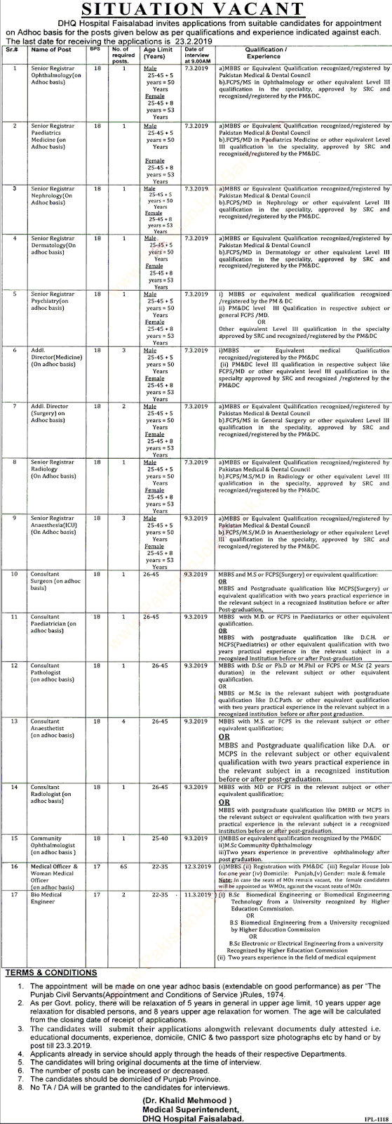 DHQ Hospital Jobs in Faisalabad