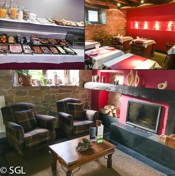 Comedor Hotel rural con encanto Iribarnia en Navarra.