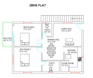 2bhk Building Line Plan With Original Autocad File