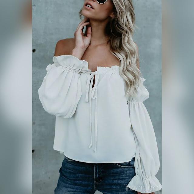 Μακρυμάνικη  άσπρη γυναικεία μπλούζα RUENA WHITE