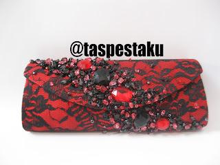 Mix warna hitam merah tas pesta mewah elegant