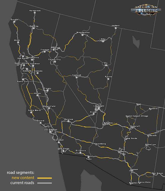 Mapa pokazująca dotychczas istniejące fragmenty dróg (szare) oraz te które dodano w ramach reskalowania (żółte)