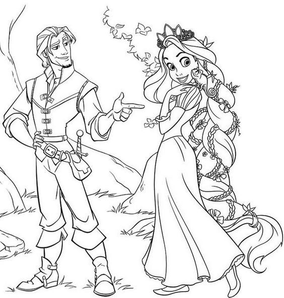 Tranh tô màu nàng công chúa tóc mây 01