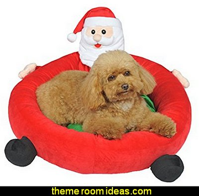 Santa Claus Christmas Holiday Pet Sleeping Bed Soft House Plush Cat Bed for Dogs and Cats