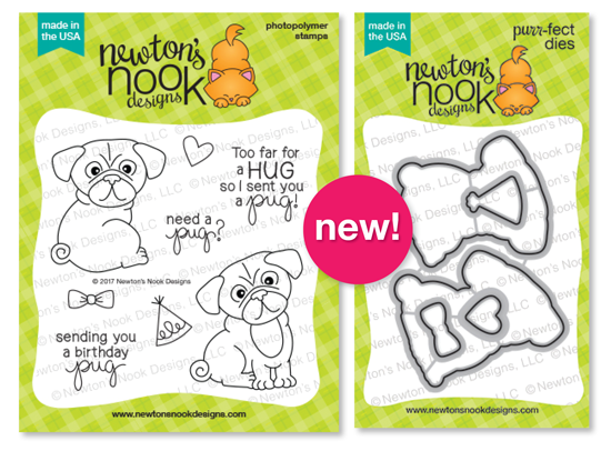 Pug Hugs Stamp set and coordinating Die Set by Newton's Nook Designs #newtonsnook