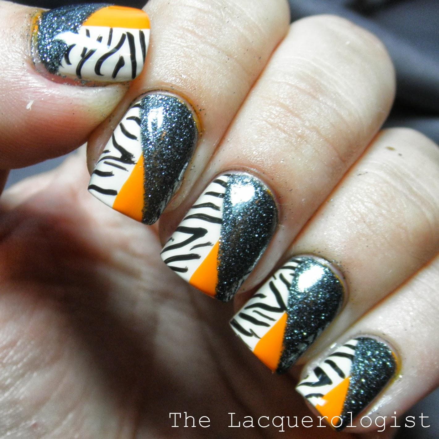 halloween nail art: fall zebra and glitter - inspiredsweet nail