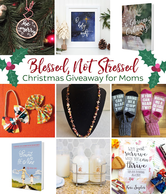 ms Blessed, not stressed Christmas giveaway for moms - Christmas prints, books on motherhood, and more! Runs December 1-7! Worth $165, enter today