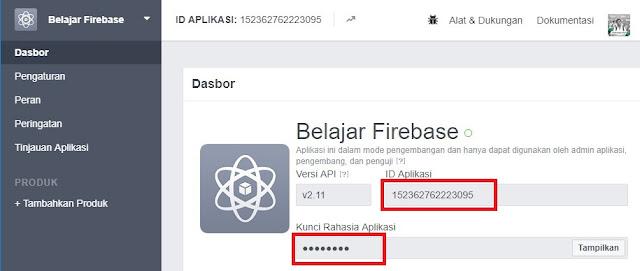 Dashboard Pada Facebook Developer