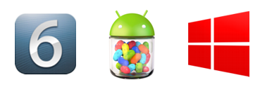 iOS 6, Android 4.2 Jelly Bean, dan Windows Phone 8