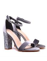 Sandales en velours grises à sequins