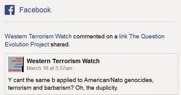 A pro-terrorist Page on Facebook complained when an article against terrorism was posted.