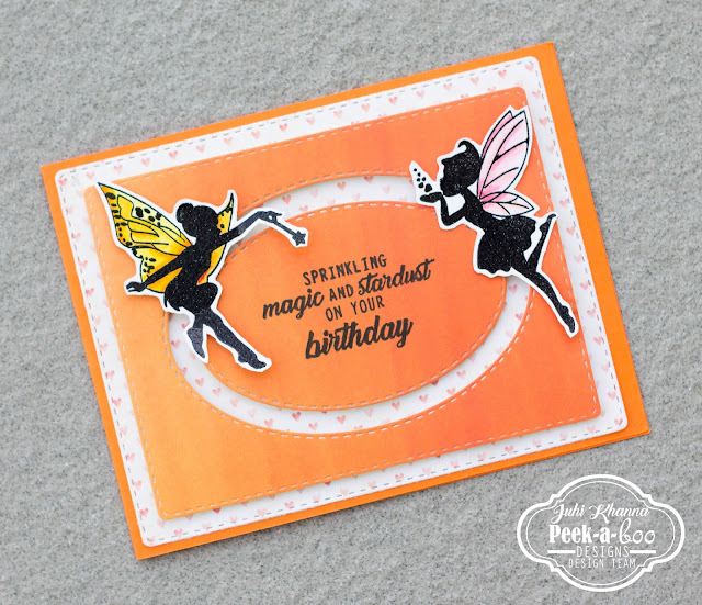 Fairy double slider card with Peek-a-boo designs stamps