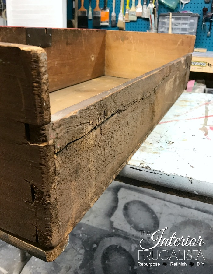 Red Antique Empire Dresser Dovetail Joints