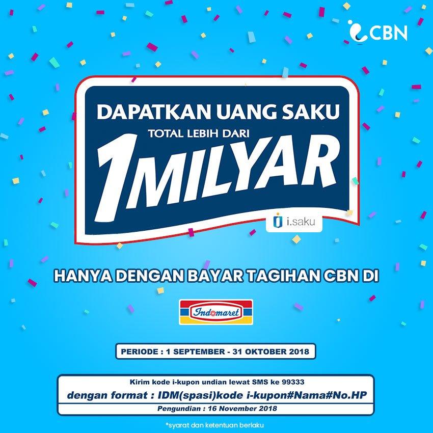 Indomaret - Bayar CBN Dapatkan Uang Saku 1 Milyar (s.d 31 Okt 2018)