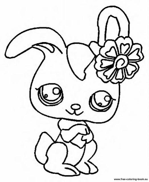 Зайчонок с бантиком на ушке, раскраска Hare with bow on ear