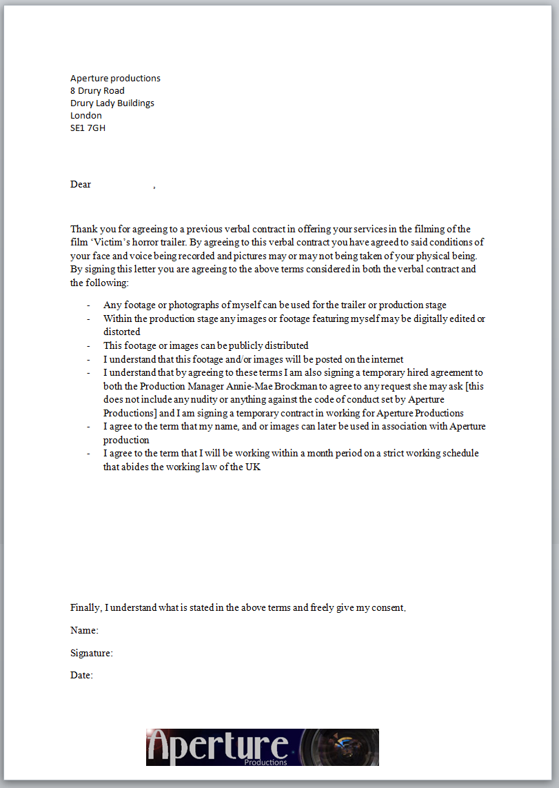 Annie-Mae's A2 Advanced Portfolio: Filming Letter of Consent