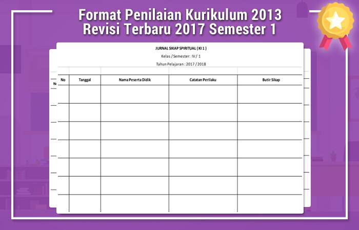 Format Penilaian Kurikulum 2013 Revisi Terbaru 2017 Semester 1