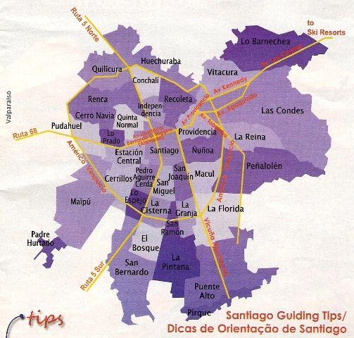 Mapa das regiões de Santiago do Chile