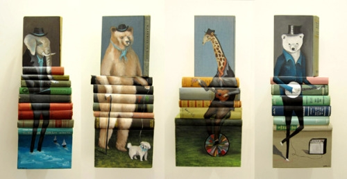 21-Mike-Stilkey-Books-used-as-Canvasses-for-Paintings-www-designstack-co