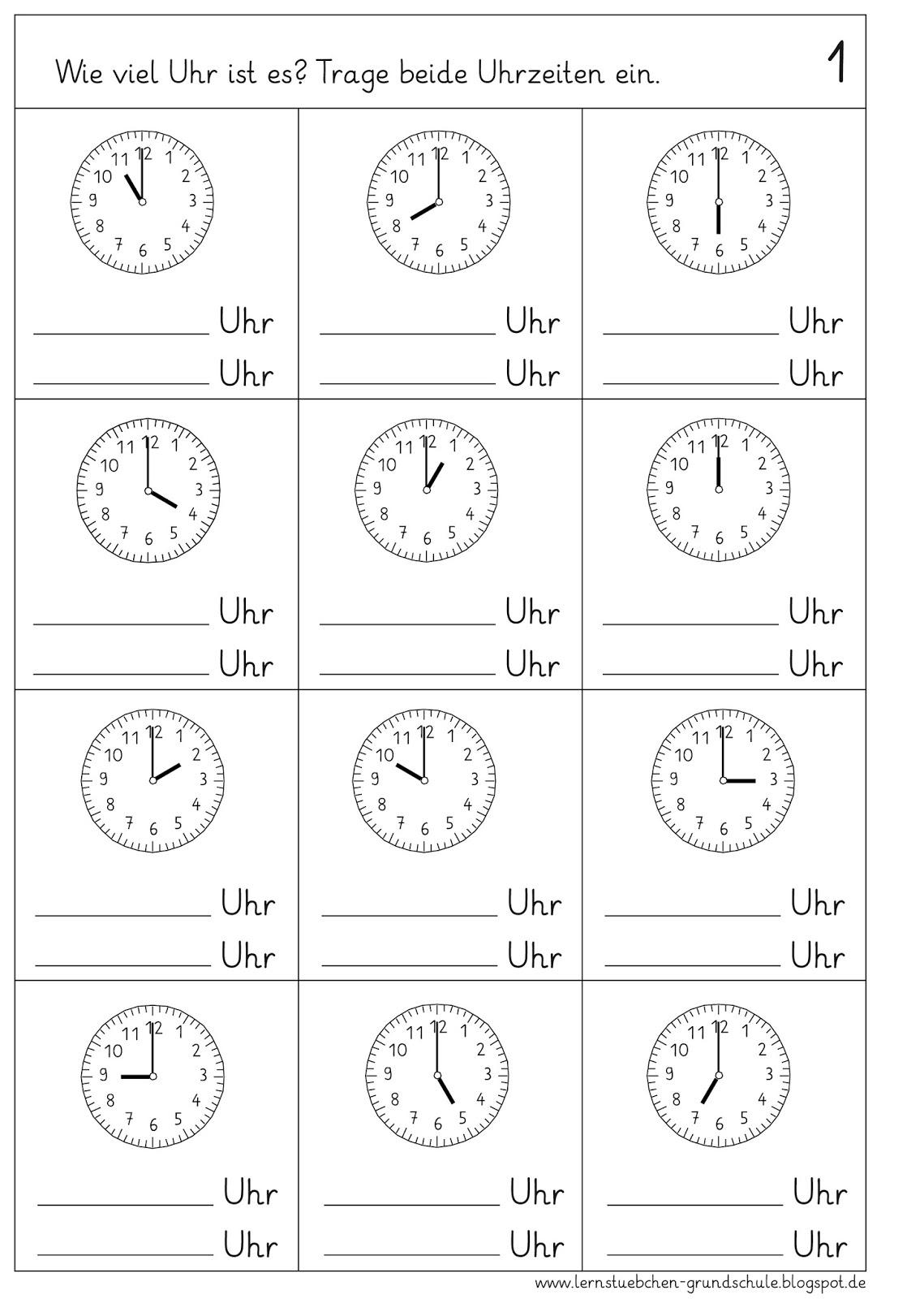 Lernstübchen: volle Stunden ablesen