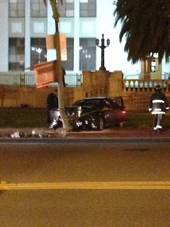 Car Crashes Into Pole After 80 MPH On Grand