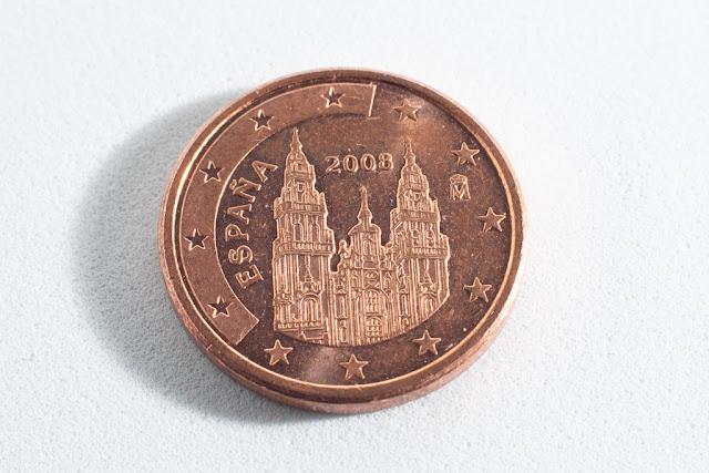 Macrofotografía de una moneda de 1 céntimo