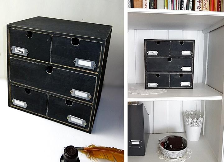 Schwarze Schubladenkommode mit magnetischer Tafelfarbe und Etikettenhaltern