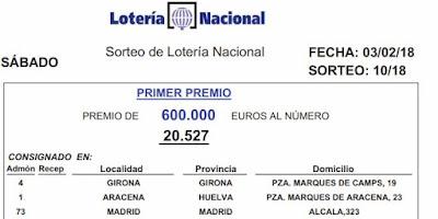 primer premio loteria nacional del sabado 3 de febrero de 2018