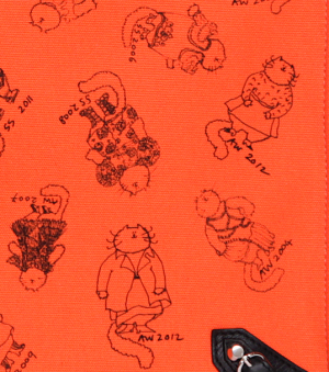 Closeup of Grace Coddington's Pumpkin Doodles for Balenciaga, FNO, Fashion's Night Out, Limited Edition