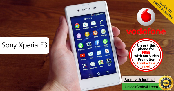 Factory Unlock Code Sony Xperia E3 from Vodafone