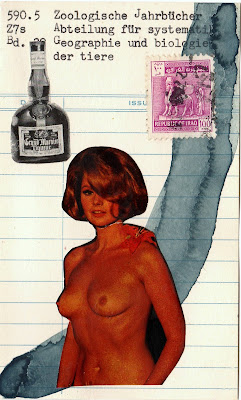 iraq postage stamp Grand marnier bottle vintage female nude breasts library card Dada Fluxus mail art collage