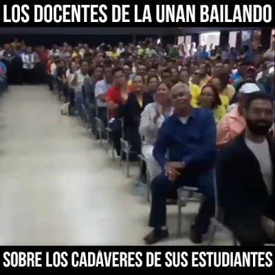 Docentes de la UNAN celebrando las muertes de los Estudiantes