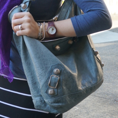 Balenciaga giant hardware Day bag in 2009 tempete, Cora wood watch | AwayFromTheBlue