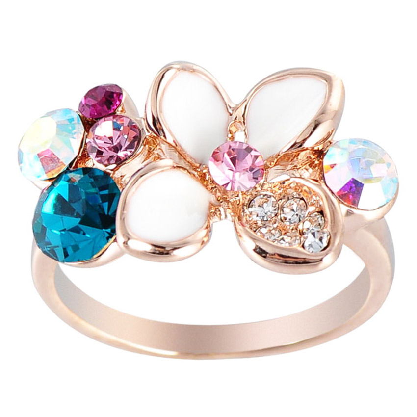 shopping di Lazada, bergaya dengan lazada, Fur Nyce Floral Crystal Enamel Ring Multi-Color