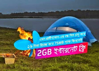 Grameenphone Inactive- Bondho sim Reactivation offer with FREE facebook and 2GB FREE Internet on 75 MB Starter Pack Purchase
