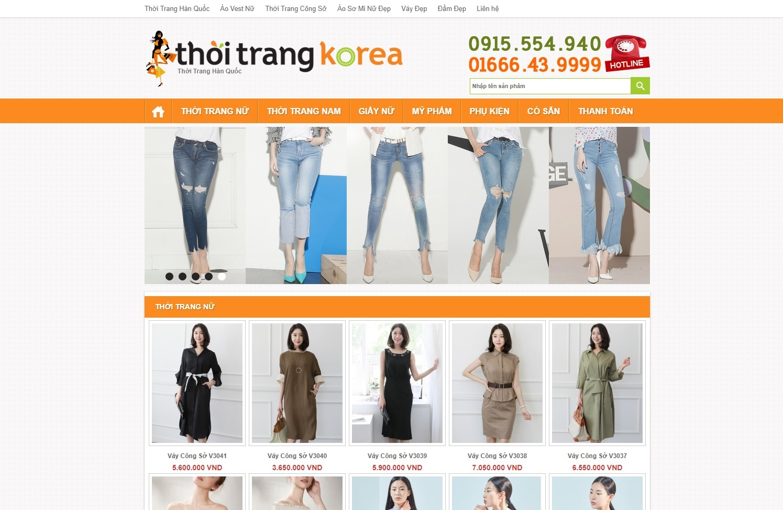 Code Wordpress Của Hàng Thoi Trang Korea Free Down