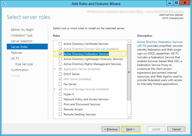 adfs configuration sharepoint 2013